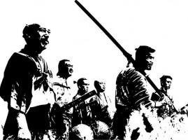 Stylizovaná černobílá grafika jako zjednodušená předloha.